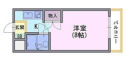 ラフィーヌ永田[203号室]の間取り