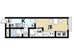 近鉄京都線 山田川駅 徒歩4分の賃貸アパート 1階1Kの間取り