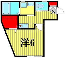 クレストール綾瀬 2階1Kの間取り