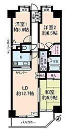 東武東上線 北池袋駅 徒歩8分の賃貸マンション 2階3LDKの間取り