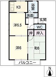 ファミール桜作[2階]の間取り