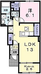サニー青山 1階1LDKの間取り