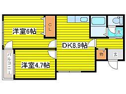 北海道札幌市東区北二十一条東20丁目の賃貸マンションの間取り