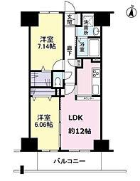 エスヴェール北梅田 11階2LDKの間取り