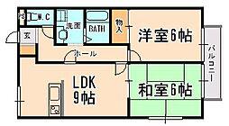兵庫県伊丹市森本3丁目の賃貸アパートの間取り