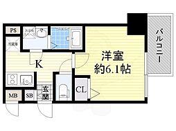 Osaka Metro長堀鶴見緑地線 京橋駅 徒歩3分の賃貸マンション 13階1Kの間取り