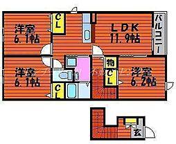 JR津山線 玉柏駅 徒歩25分の賃貸アパート 2階3LDKの間取り