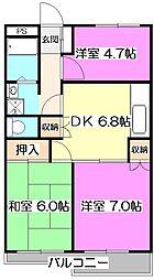 シャトー所沢[2階]の間取り