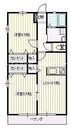 JR山陽本線 岡山駅 バス25分 福泊下車 徒歩3分の賃貸アパート 1階2LDKの間取り