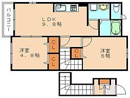 福岡県飯塚市平塚の賃貸アパートの間取り