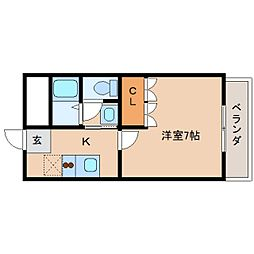 近鉄天理線 天理駅 徒歩9分の賃貸マンション 1階1Kの間取り