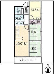 グリュンハイム神沢N棟[2階]の間取り