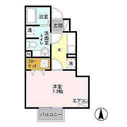 東京都日野市万願寺5丁目の賃貸アパートの間取り