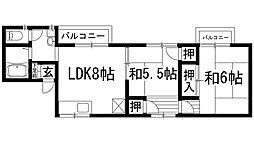 兵庫県川西市山原1丁目の賃貸アパートの間取り