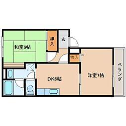奈良県生駒郡三郷町立野南3丁目の賃貸マンションの間取り