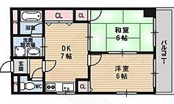 moco-06 (辻産業第6ビル) 3階2DKの間取り