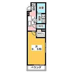 クレール・和(なごみ) 2階1Kの間取り