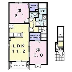JR高徳線 板野駅 徒歩22分の賃貸アパート 2階2LDKの間取り