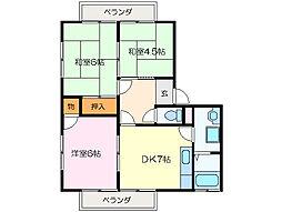 コーポ駅部田[2階]の間取り