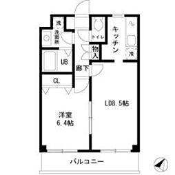 JR京浜東北・根岸線 港南台駅 徒歩8分の賃貸マンション 2階1LDKの間取り