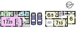 全室6帖以上の広さを確保したゆとりある間取り。1階は畳コーナーを合わせて21.25帖の大きな空間です。人気のリビング階段を採用し、ご家族の会話がはずむおうちです。