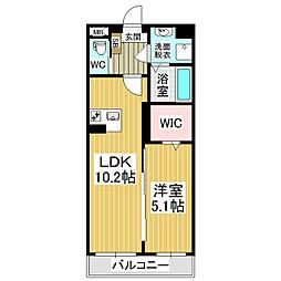 JR篠ノ井線 村井駅 徒歩19分の賃貸マンション 2階1LDKの間取り