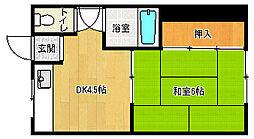 京都府京都市中京区西ノ京月輪町の賃貸アパートの間取り