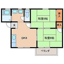奈良県生駒市中菜畑の賃貸アパートの間取り