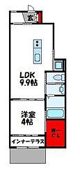 JR鹿児島本線 新宮中央駅 徒歩12分の賃貸アパート 1階1LDKの間取り