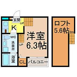 愛知県名古屋市中村区五反城町4丁目の賃貸アパートの間取り