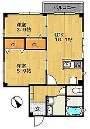 船堀Uマンション[103号室]の間取り