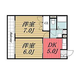 JR東金線 求名駅 4kmの賃貸アパート 3階2DKの間取り