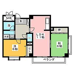 カーサ御成[6階]の間取り
