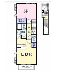 JR津山線 備前原駅 5.2kmの賃貸アパート 2階1LDKの間取り