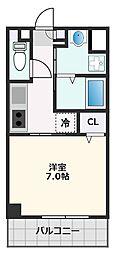 カーサ・ロイヤル吹田1番館 2階1Kの間取り