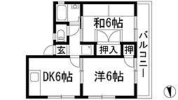 兵庫県西宮市段上町5丁目の賃貸アパートの間取り