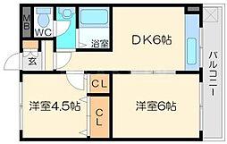 第2吉田屋ハイツ 2階2DKの間取り