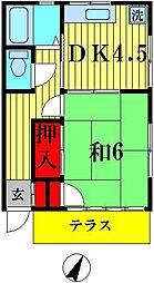 仲田コーポ[1階]の間取り