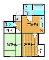 セピアコート壱番館[1階]の間取り