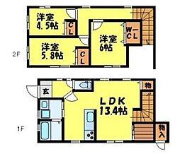 [テラスハウス] 福岡県大野城市下大利3丁目 の賃貸【/】の間取り