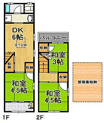 [一戸建] 大阪府大阪市大正区三軒家東1丁目 の賃貸【/】の間取り
