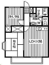 埼玉県蓮田市黒浜の賃貸アパートの間取り