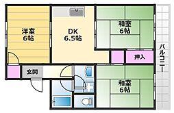 マンションフローレンス 2階3DKの間取り