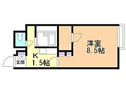 レオネクスト二十四軒 2階1Kの間取り