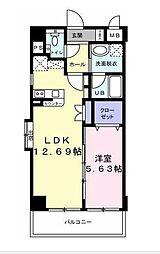 セゾンヒルズ赤坂 5階1LDKの間取り