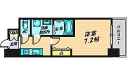 ファステート都島ベルズ 3階1Kの間取り
