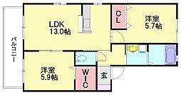 クレストハイツ3[1階]の間取り