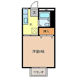サンシティ箱清水[2階]の間取り