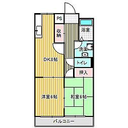 愛知県名古屋市中川区服部1丁目の賃貸マンションの間取り