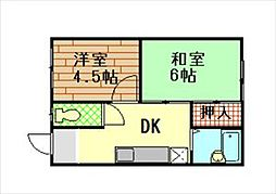 兵庫県神戸市長田区房王寺町2丁目の賃貸アパートの間取り